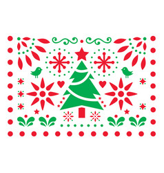 christmas design - mexican folk art pattern vector image