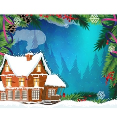 Christmas House in winter forest vector