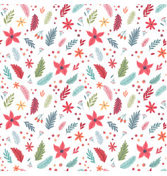 christmas seamless floral pattern hand drawn vector image