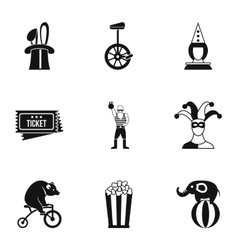 Circus icons set simple style vector
