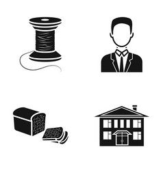 Coil with threads man and other web icon in black vector