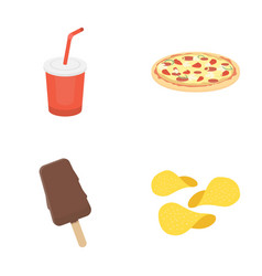 Cola pizza ice cream chipsfast food set vector