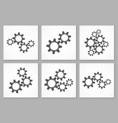 collection of black gears business vector image