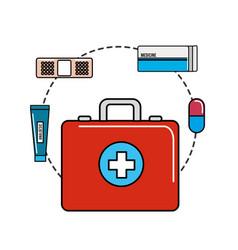 Color healthcare medications tools icon vector