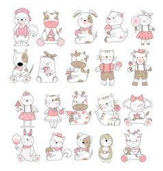 cute baanimal cartoon hand drawn style vector image