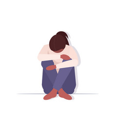 Depressed woman crying depression problems stress vector
