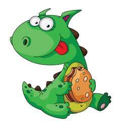Dinosaur eating vector