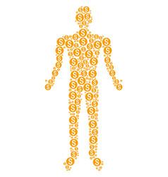 Dollar coin human figure vector