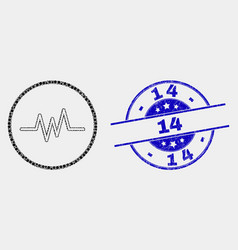 Dot pulse signal icon and grunge 14 vector