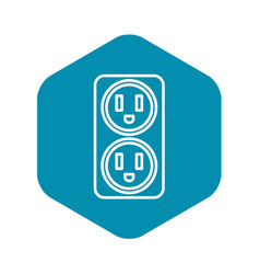 Double electrical outlet icon outline style vector