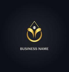 droplet happy man gold logo vector image