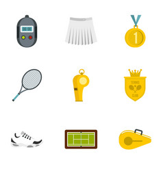 Equipment for tennis sport icons set flat style vector