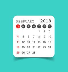 February 2018 calendar calendar sticker design vector