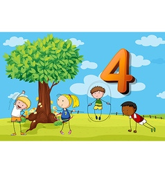 Flashcard number 4 with four children in the park vector image
