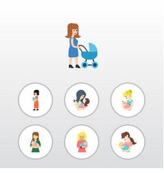 Flat icon mother set of perambulator kid child vector