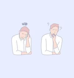 Frustration confusion depression concept vector