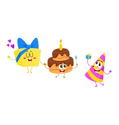 Funny birthday characters - hat cake gift box vector