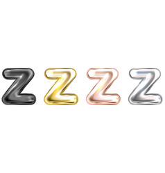 Golden foil balloon inflated alphabet symbol z vector