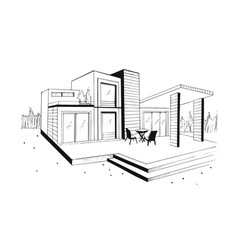 Hand drawn villa modern private residential house vector