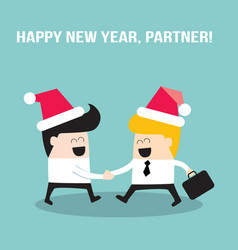 Happy businessmen people shaking hands and wearing vector