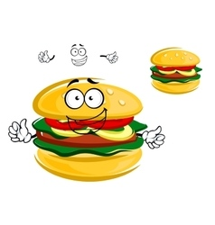 Happy tasty tempting cartoon hamburger character vector image
