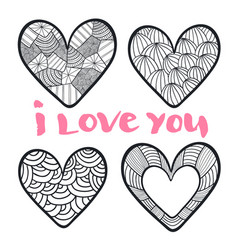 Hearts set in zentangle style for coloring book vector