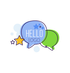 Hello logo bright emblem with hello word and vector