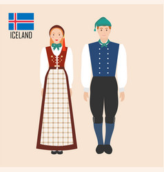 Iceland man and woman in traditional costumes vector