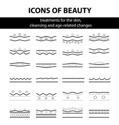 Icons with scheme of cleansing the skin vector image