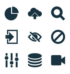 Interface icons set with search video stabilizer vector
