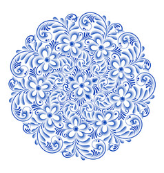 isolated blue round floral gzhel decoration vector image