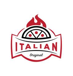 italian original pizza logo on fire vector image
