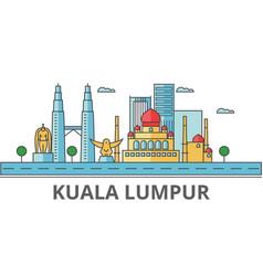 Kuala lumpur city skyline buildings streets vector