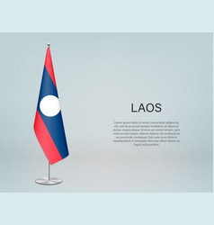 Laos hanging flag on stand template forconference vector