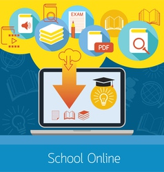 Laptop with Icons School Online E-Learning Concept vector image