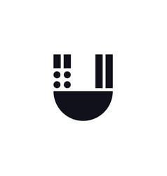 logo letter u black and white vector image