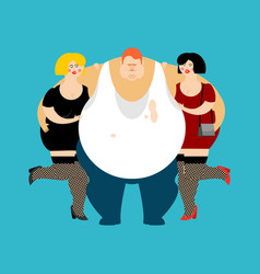 lucky fat guy and girls glutton thick man and vector image