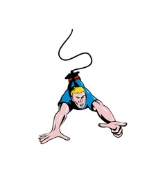 Man Bungy Jumping Hand Pointing vector image