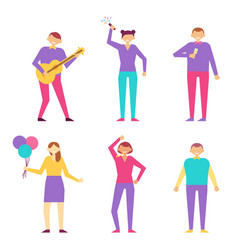 man playing on guitar woman flapper and balloons vector image