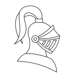 Medieval knight helmet icon outline style vector