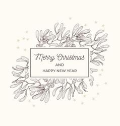 mistletoe sketch frame greeting card vector image