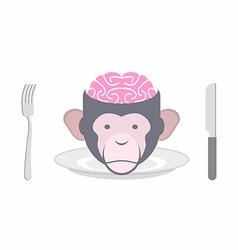 Monkey brains prohibited dish oriental cuisines vector