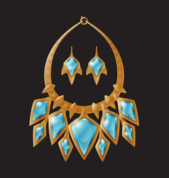 Necklace and earrings set vector