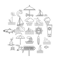 Neptunian icons set outline style vector