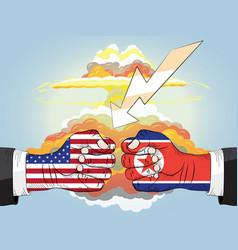 north korea vs america nuclear explosion vector image