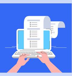 Online survey computer flat line concept vector