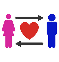 people exchange heart icon vector image