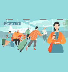 people rushing to a plane at airport vector image