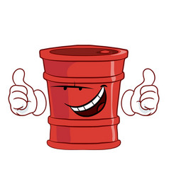 Red barrel with a grin thumbs up vector