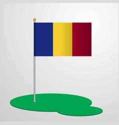 Romania flag pole vector